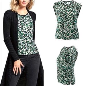 CAbi #3260 Green Leopard Print Jungle Top Small